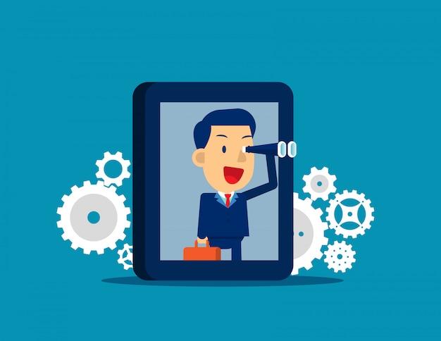 Biznesmena gmerania cel z smartphone. postać z kreskówki płaski charakter kid Premium Wektorów