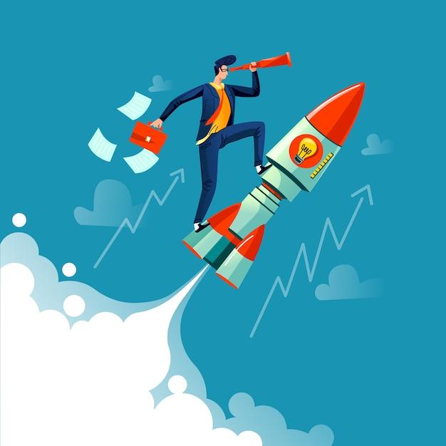 Biznesmena latanie na rakietowym biznesowym pojęciu Darmowych Wektorów