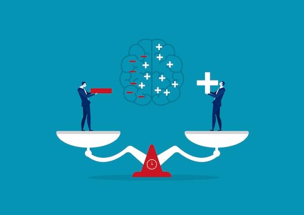 Biznesmena Mienia Pozytywna I Negatywna Myśląca Ilustracja Premium Wektorów