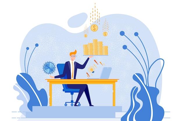 Biznesmena obsiadanie przy stołem z zegarem i pieniądze. Premium Wektorów