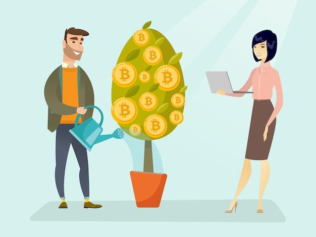 Biznesmena Podlewania Drzewo Z Bitcoin Symbolami. Premium Wektorów
