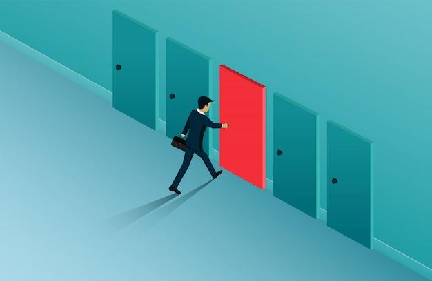 Biznesmeni Otwierają Drzwi Wyboru, ścieżkę, Szansę Na Sukces. Premium Wektorów