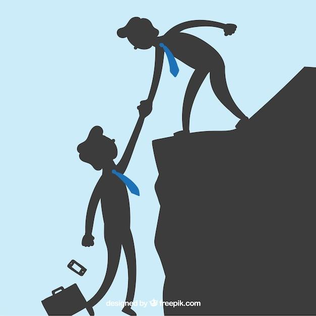 Biznesmeni pomagając sobie wzajemnie Darmowych Wektorów