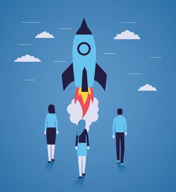 Biznesmeni uruchamiają rakietę Darmowych Wektorów