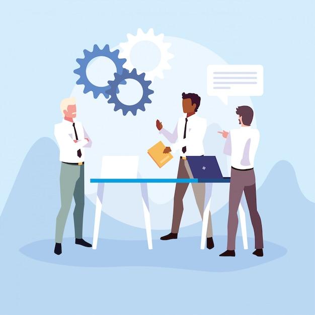 Biznesmeni W Biurze Pracy, Spotkanie Na Temat Globalnych Badań Planowania I Marketingu Premium Wektorów