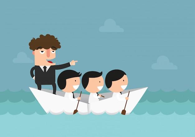 Biznesmeni Wiosłuje łódź, Praca Zespołowa, Sukces, Przywódctwo Pojęcia Ilustracja. Premium Wektorów