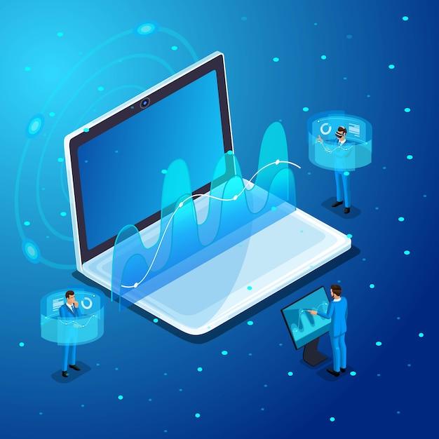 Biznesmeni Z Gadżetami, Praca Na Wirtualnych Ekranach, Zarządzanie Urządzeniami Elektronicznymi Online, Wirtualne Okulary, Wirtualna Rzeczywistość Premium Wektorów