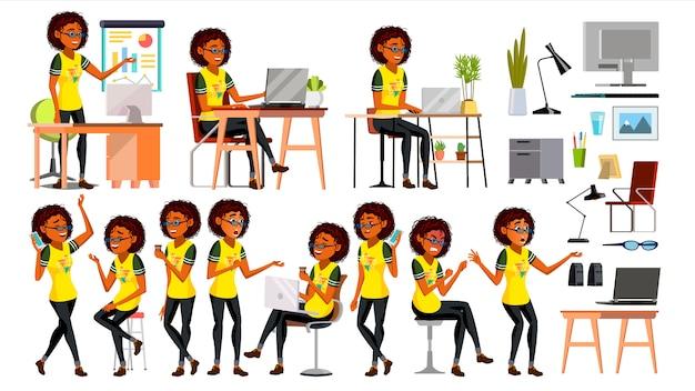 Biznesowa afrykańska czarna kobieta Premium Wektorów