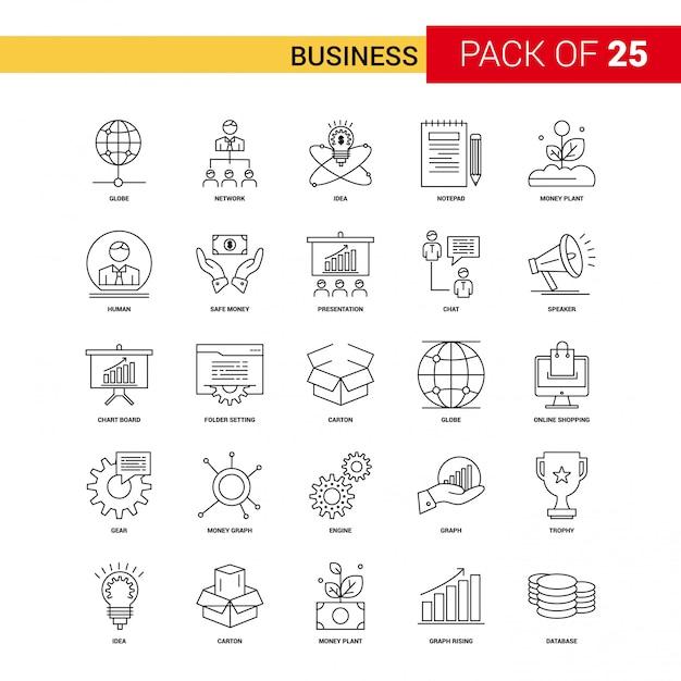 Biznesowa czarna linia ikona - 25 zestaw ikon konturu biznesowego Darmowych Wektorów