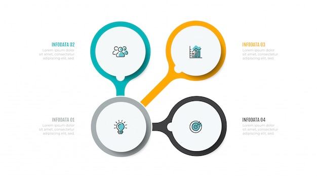 Biznesowa Infographic Z Marketingowymi Ikonami I 4 Krokami, Opcje. Premium Wektorów