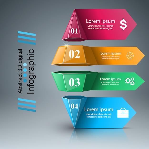 Biznesowa Infographics Origami Stylu Ilustracja Premium Wektorów