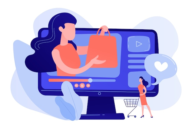 Biznesowa Kobieta Cieszy Się Wideo Z Kupującym Podczas Zakupów. Szaleństwo Zakupów Wideo, Przewóz Treści Wideo, Koncepcja Kanału Lifestyle Fashion Darmowych Wektorów