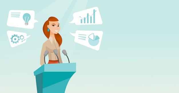 Biznesowa kobieta daje mowie przy biznesowym konwersatorium. Premium Wektorów