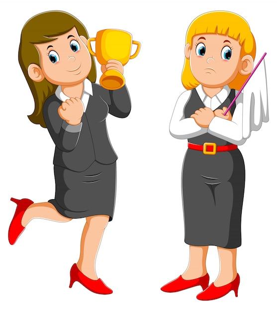 Biznesowa Kobieta Trzyma Up Trofeum Filiżankę I Biznesowa Kobieta Trzyma Białą Flaga Poddania Premium Wektorów