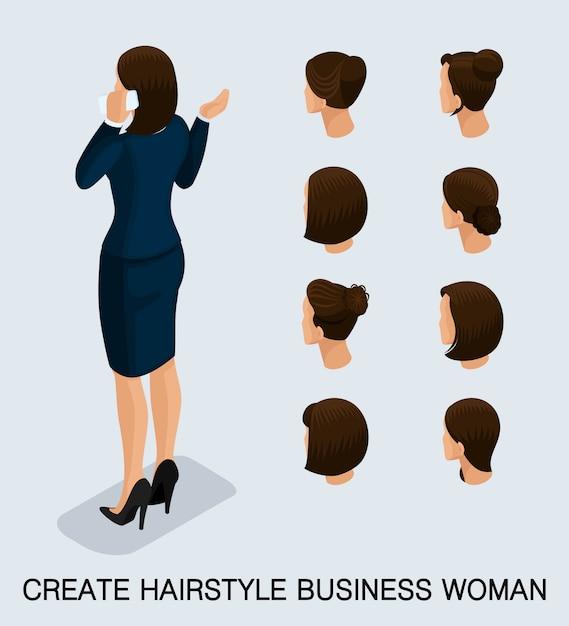 Biznesowa Kobieta Z Różnymi Głowami Ustawiać Premium Wektorów
