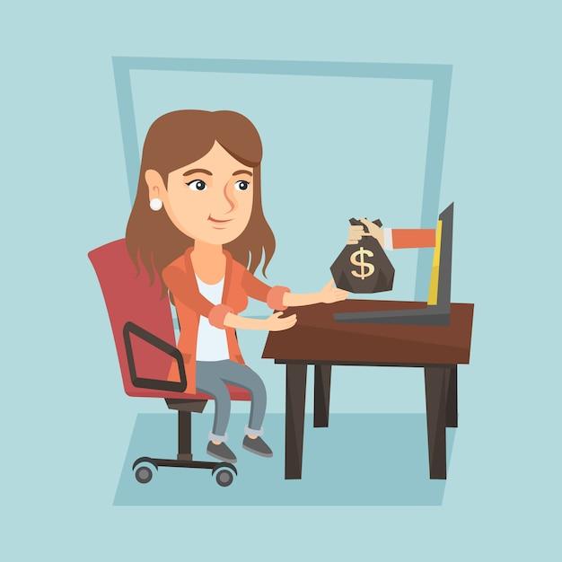 Biznesowa Kobieta Zarabia Pieniądze Od Biznesowego Online. Premium Wektorów
