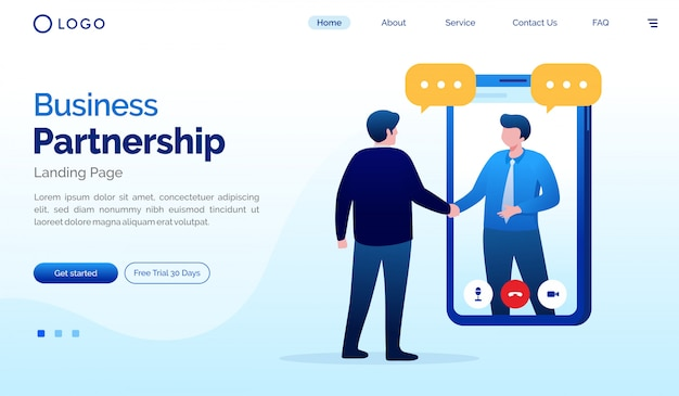 Biznesowa Partnerstwa Strony Docelowej Strony Internetowej Ilustracja Premium Wektorów