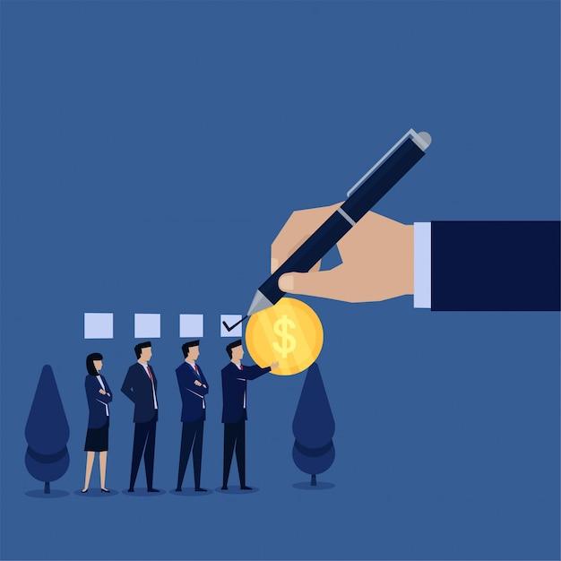 Biznesowa Płaska Wektorowa Pojęcie Ręka Daje Czekowi Biznesmenowi, Który Płacił Z Menniczą Metaforą Korupcja. Premium Wektorów
