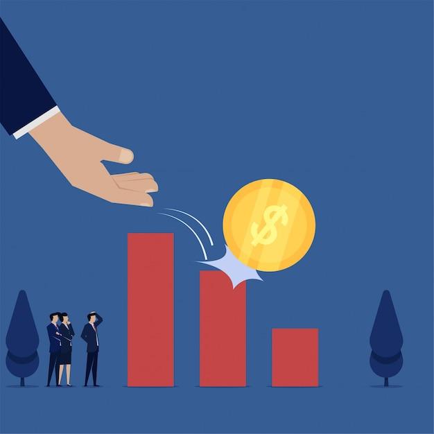 Biznesowa płaska wektorowa pojęcie ręki kropli moneta schodzić w dół prętowej mapy metaforę strata. Premium Wektorów