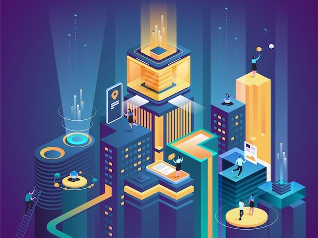 Biznesowa platforma izometryczna wektorowa ilustracja Premium Wektorów