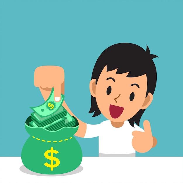 Biznesowa Pojęcie Kreskówka Mężczyzna Z Pieniądze Torbą Premium Wektorów