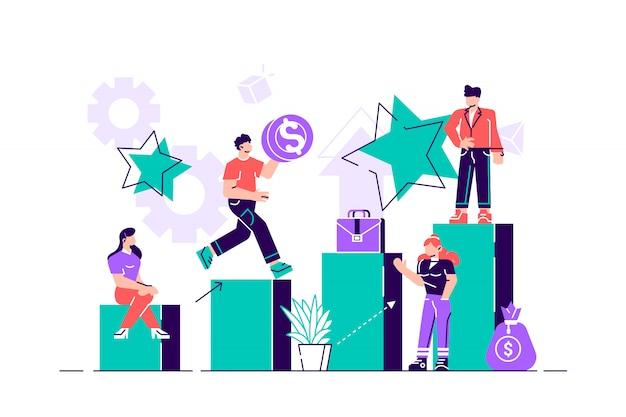 Biznesowa Pojęcie Wektorowa Ilustracja, Mali Ludzie Wspina Się Korporacyjną Drabinę, Pojęcie Rozwój Kariery, Planowanie Kariery. Premium Wektorów
