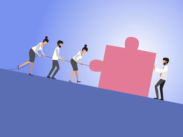 Biznesowa Praca Zespołowa I Lider Z Biznesmenami I Kobietami Ciągnie Sześcian Pod Górę. Symbol Przywództwa, Motywacji, Ambicji, Wysiłku Zespołu, Wzrostu I Sukcesu. Eps10 Ilustracji. Premium Wektorów