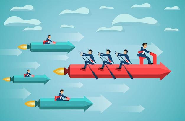 Biznesowa praca zespołowa na wioślarskiej strzała na niebo sukcesu celu. kreatywny pomysł. konkurencyjna koncepcja Premium Wektorów