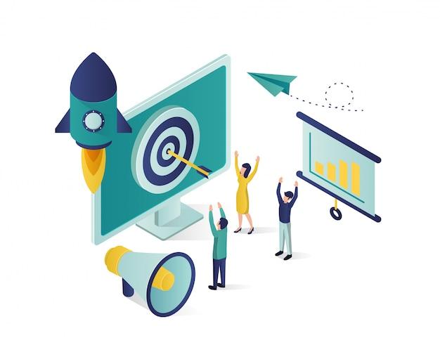 Biznesowa promocyjna isometric ilustracja, ogólnospołeczna medialna marketingowa isometric ilustracja. Premium Wektorów