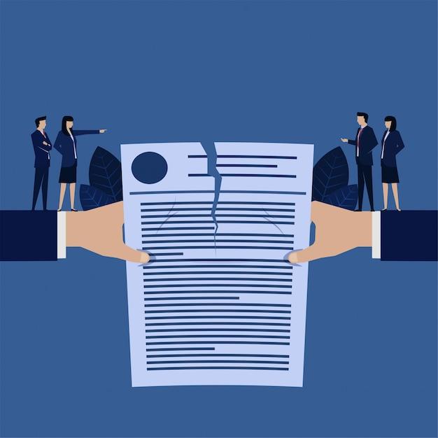 Biznesowa Ręka Rip Metafora Umowy Umowy Anulowanej Umowy Premium Wektorów