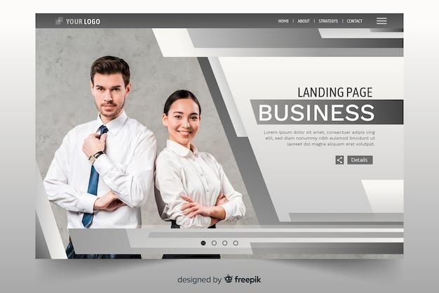 Biznesowa strona docelowa z liniami i zdjęciem Darmowych Wektorów