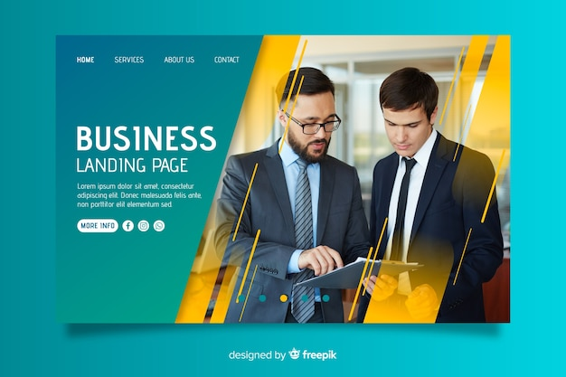 Biznesowa strona docelowa ze zdjęciem Darmowych Wektorów