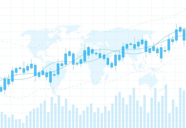 Biznesowa świeczka Kija Wykresu Mapa Rynek Papierów Wartościowych Premium Wektorów