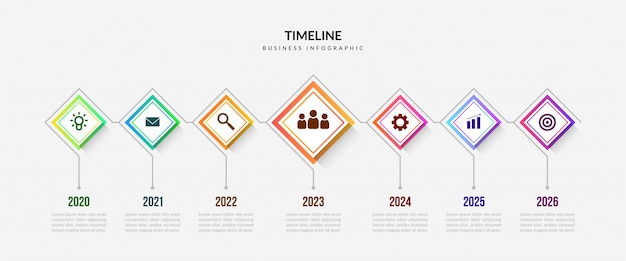 Biznesowe elementy osi czasu plansza, kolorowy wykres procesu z edytowalnych segmentów Premium Wektorów