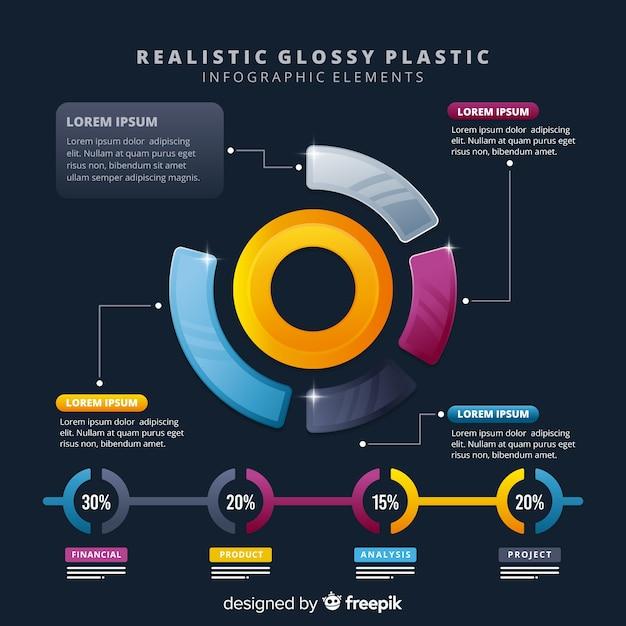 Biznesowe infogrealistyczne błyszczące elementy infographic z tworzywa sztucznego Darmowych Wektorów