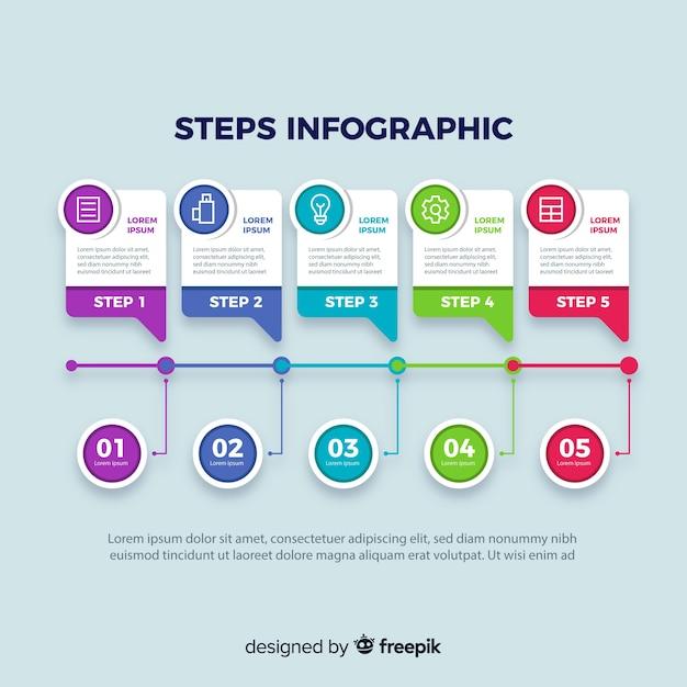 Biznesowe Kroki Infographic Z Kolorowymi Kształtami Darmowych Wektorów