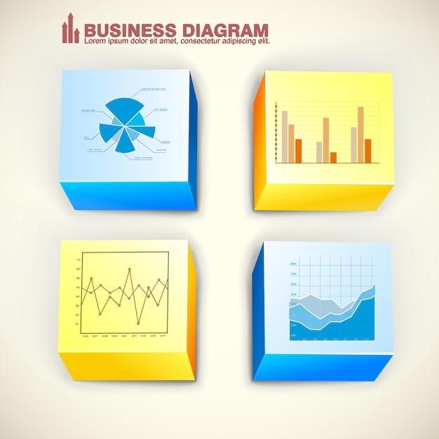 Biznesowe Kwadraty Infografiki Z Kolorowych Kostek Wykres Wykresy Wykres Na Jasnym Tle Na Białym Tle Darmowych Wektorów