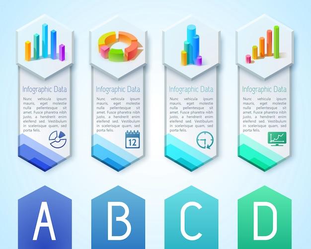 Biznesowe Pionowe Banery Z Tekstem 3d Diagramy Wykresy Wykresy Na Sześciokątach I Ikonach Ilustracja Premium Wektorów