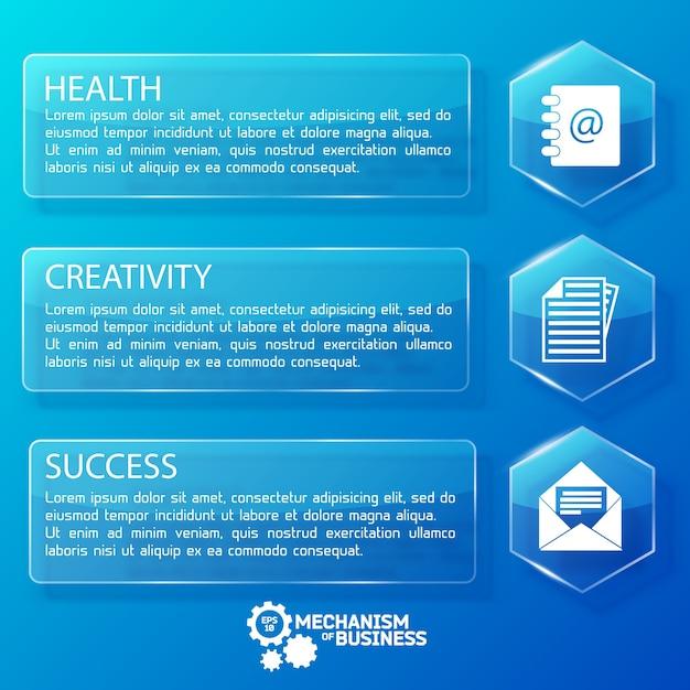 Biznesowe Szklane Banery Poziome Z Sześciokątami Tekstowymi I Białymi Ikonami Na Niebieskiej Ilustracji Darmowych Wektorów