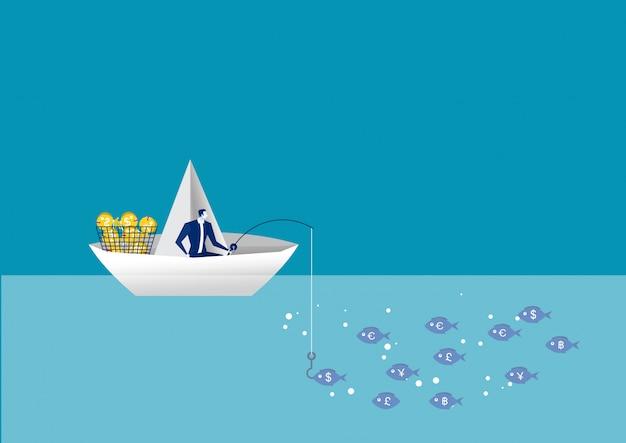 Biznesowego Mężczyzna Połów Na Papierowej łodzi. Znalezienia Przywódctwo Rozwiązania Korporacyjni Sukces. Premium Wektorów