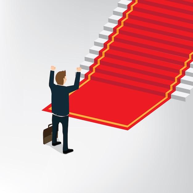 Biznesowego mężczyzna pozycja przed wygrana schodkiem Premium Wektorów
