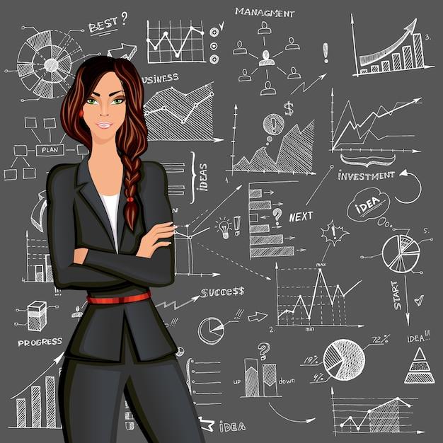 Biznesowej kobiety doodle tło Darmowych Wektorów