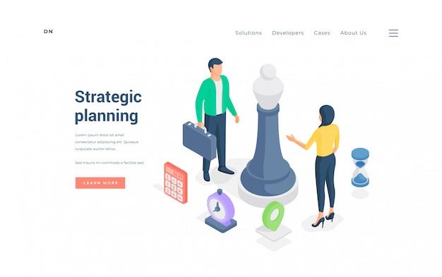 Biznesowi Koledzy Dyskutuje Strategię Wpólnie. Izometryczne Ilustracji Premium Wektorów
