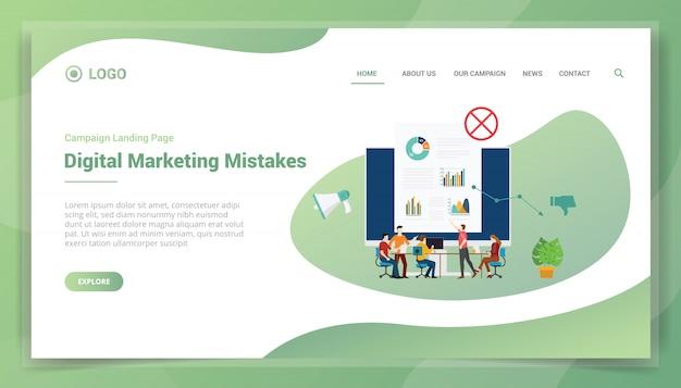 Biznesowy Błąd Marketingowy W Przypadku Szablonu Witryny Lub Strony Docelowej Premium Wektorów