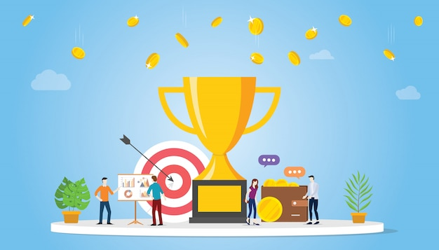 Biznesowy cel achivement firmy pojęcie z dużym złotym trofeum Premium Wektorów