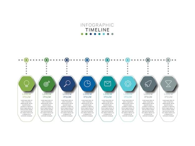Biznesowy Infografika Szablon Osi Czasu Z Sześciokątnymi Elementami W Płaskich Kolorach Premium Wektorów