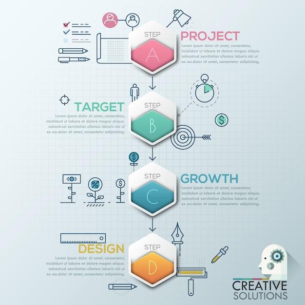 Biznesowy infografiki wielokąta origami styl Premium Wektorów