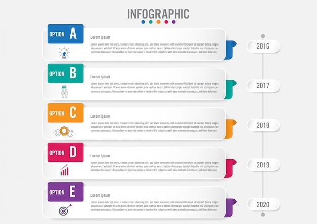 Biznesowy infographic etykietka szablon z 5 opcjami Premium Wektorów