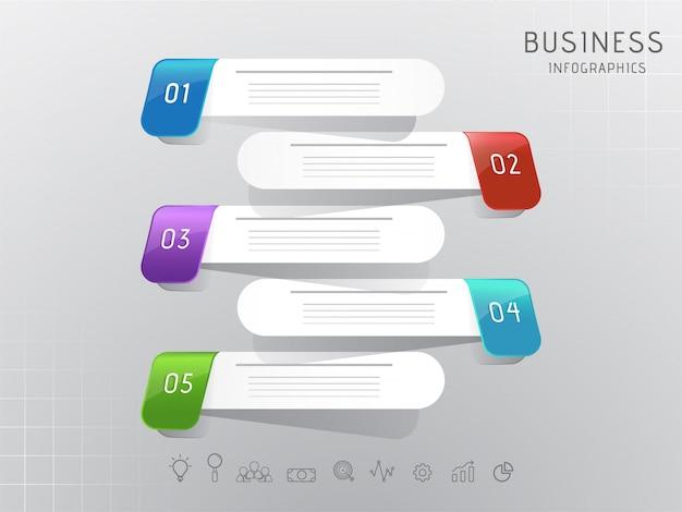 Biznesowy infographic numeryczny krok 3d obdziera elementy Premium Wektorów