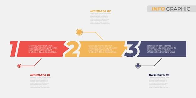 Biznesowy Infographic Szablon. Kreatywny Układ Z Opcjami Liczbowymi I 3 Krokami, Procesami. Elementy Wektorowe Dla Wykresu Informacyjnego, Raportu Rocznego, Prezentacji. Premium Wektorów
